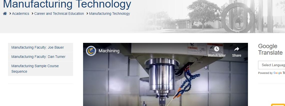 screen shot of Yuba college manufacturing page showing an automated cutting tool