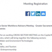 Meeting registration screen shot with social media icons