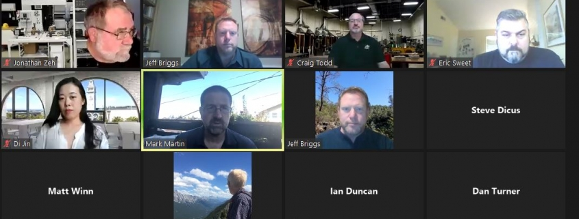 Screen shot of zoom meeting with heads of participants