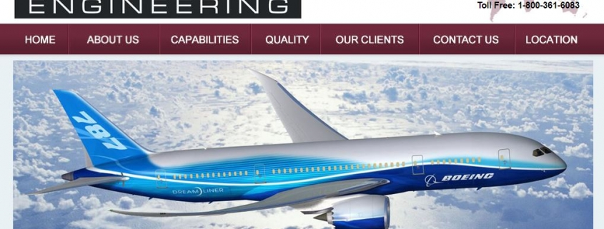 Screen shot of Snowline Engineering web page with Boeing 787 airliner shown
