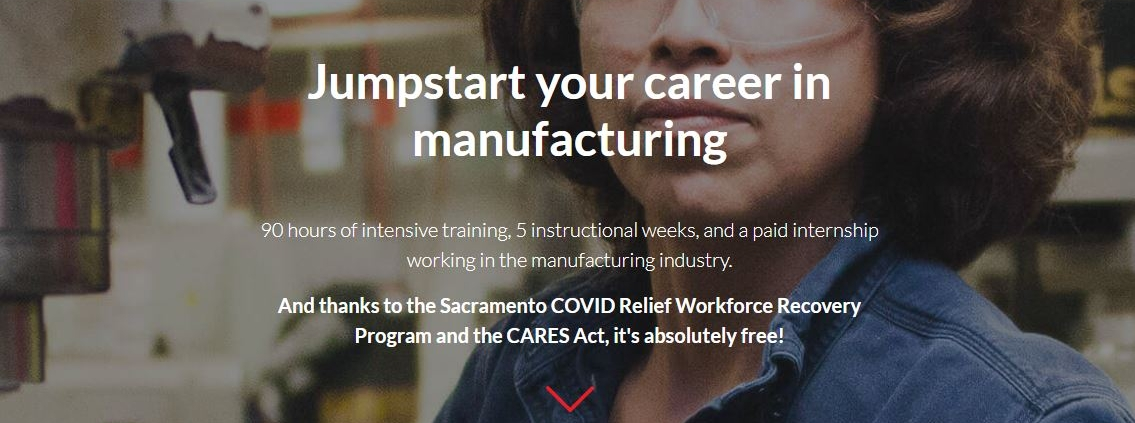 Manufacturing Cares website screen shot with woman in safety goggles