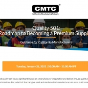 CMTC webinar announcement with graphic of people in safety vests and, hats and masks