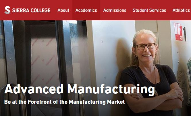 Clip from Sierra College website showing Advanced Manufacturing
