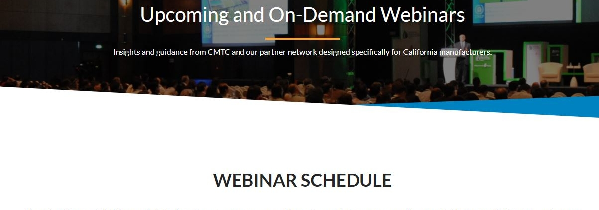 Clip of webinar page from CMTC website